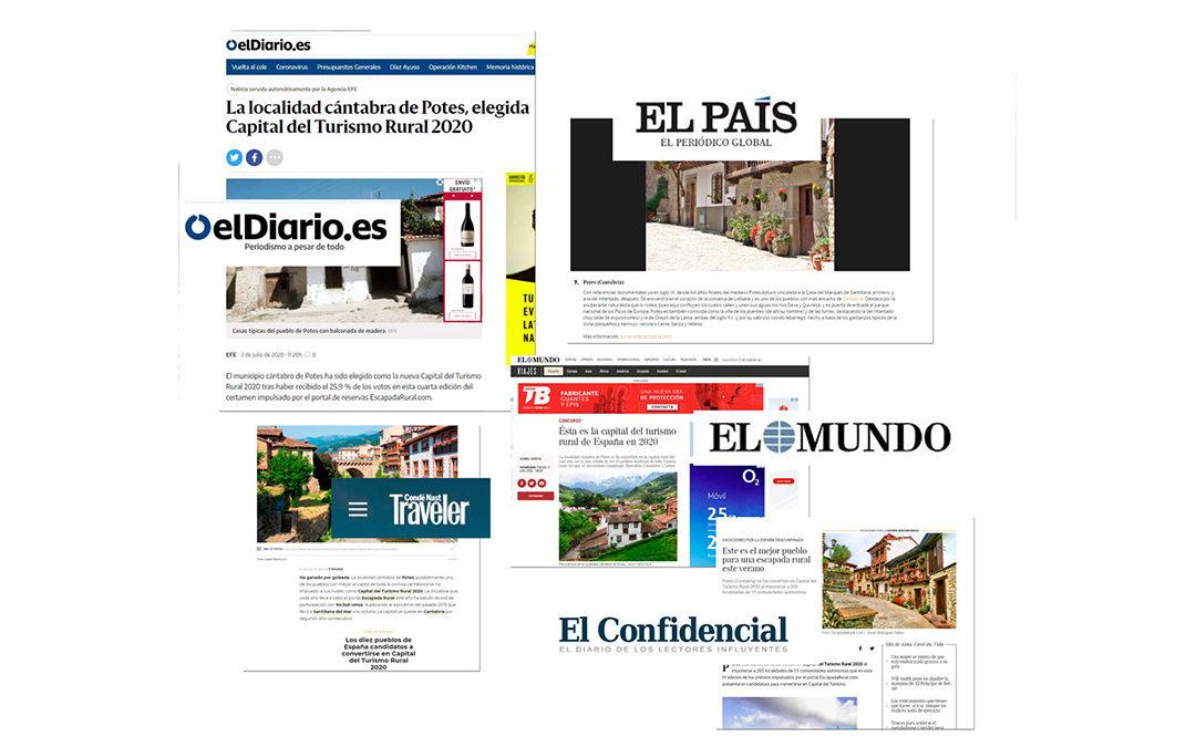 Las principales cabeceras del país dan cobertura al nombramiento de Potes como Capital del Turismo Rural 2020