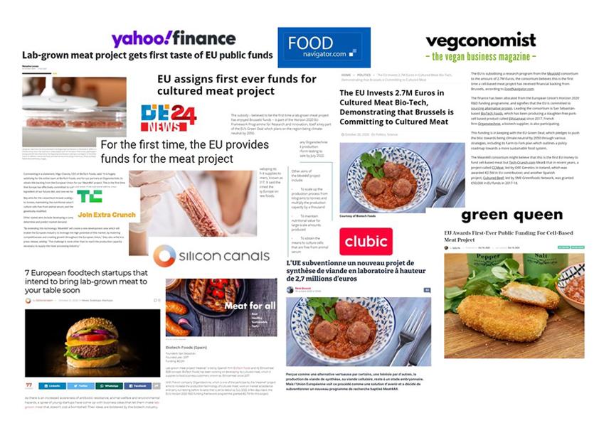 La primera subvención europea para un proyecto de carne cultivada, el 'Meat4All' de la española BioTech Foods, en medios internacionales