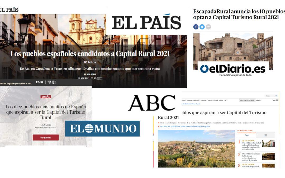 Los 10 pueblos candidatos a Capital del Turismo Rural 2021 ocupan los principales titulares en los medios nacionales y regionales